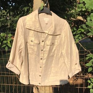 100% Linen gold shirt/ jacket Chico's 2